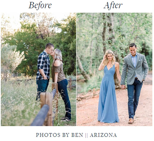 Engagement session before and after photos of a man and woman