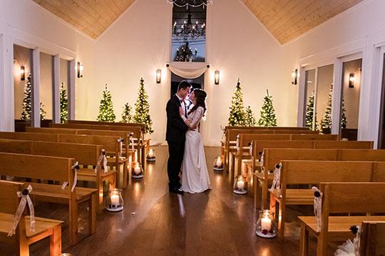 Bride and groom portraits inside Juliette Chapel