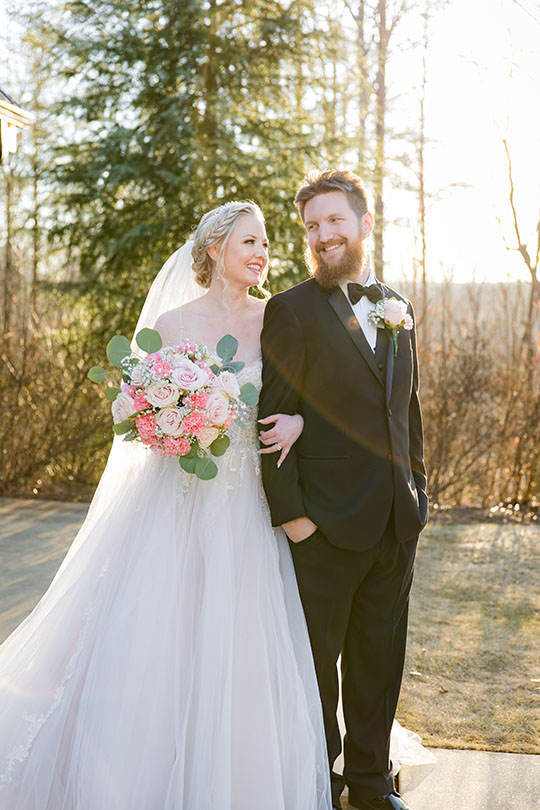 Bride and groom portraits outdoors at the Juliette Chapel