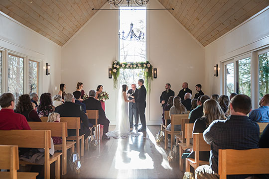 Inside wedding ceremony at the Juliette Chapel