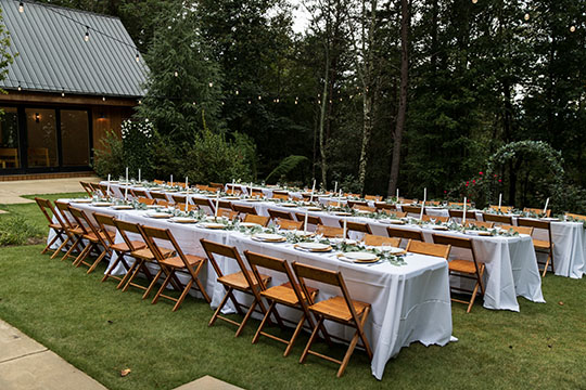 outdoor reception at the Juliette Chapel