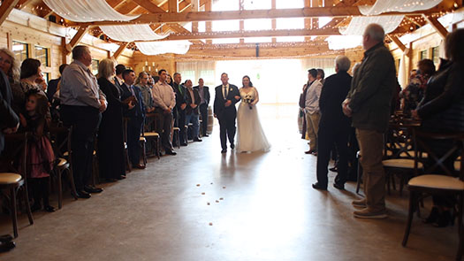 Pavilion wedding ceremony at the Willows Farm
