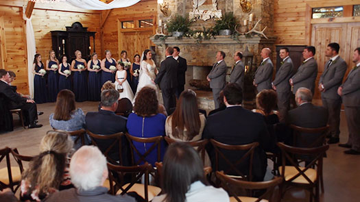 Inside wedding ceremony at the Willows Farm
